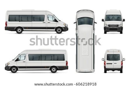 Van Vector Template Isolated Passenger Mini Stock Vector
