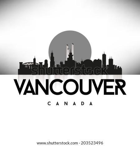 Vancouver Canada Black skyline silhouette vector design. - stock vector