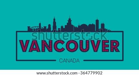 Vancouver Canada Skyline silhouette plate vector design - stock vector