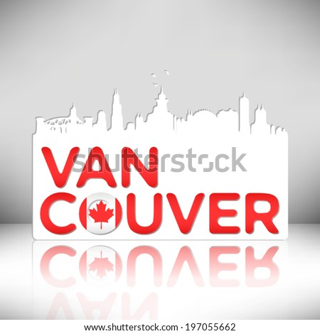 Vancouver Canada skyline silhouette vector design. Greeting card illustration. - stock vector