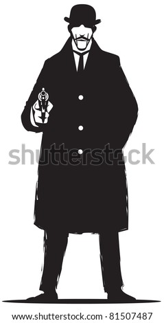 Vandage private detective, isolated on a white background - stock vector