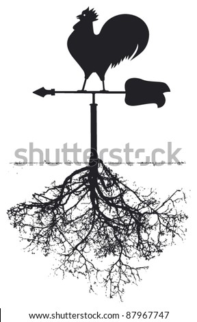 vane with cock and roots - stock vector