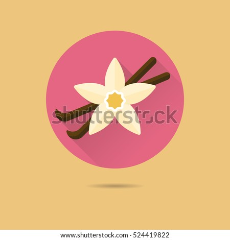vanilla blossom and pods flat design long shadow vector icon