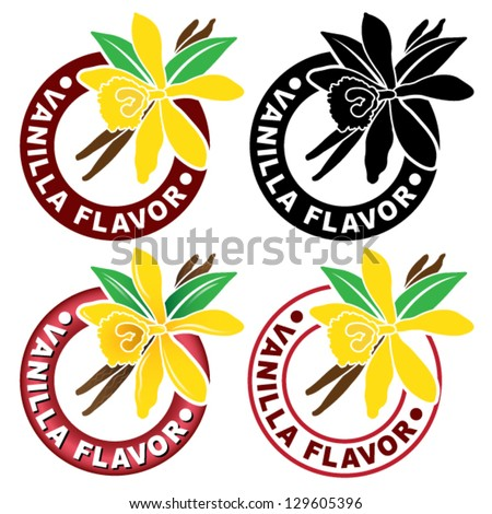 Vanilla Flavor Seal - stock vector