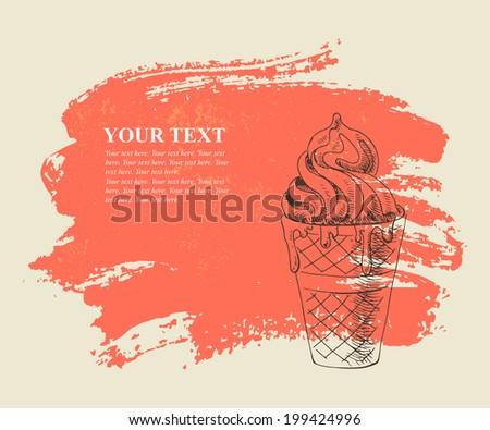 Vanilla ice cream on red grunge background. - stock vector