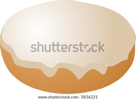 Vanilla icing covered donut vector isometric illustration