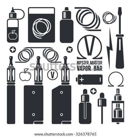 vape shop ecigarette icons isolated on stock vector royalty free