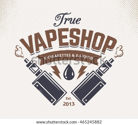 Vape shop emblem template. Vector retro style emblem with vaping attributes.
