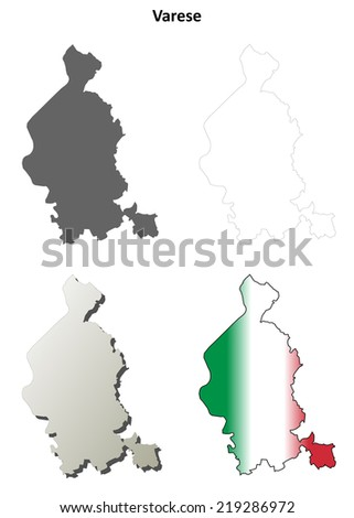 Varese Blank Detailed Outline Map Set Stock Vector 219286972