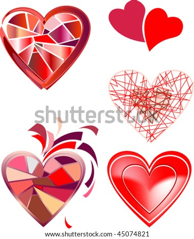 Variants of shape of hearts - stock vector