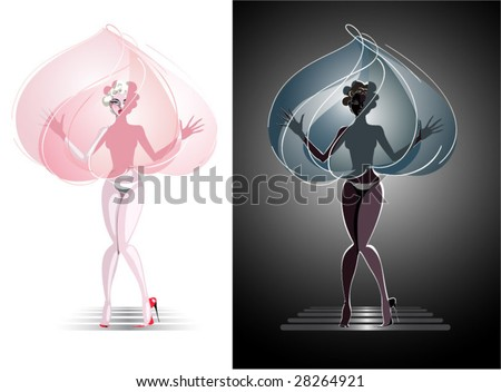 variation about Marilyn Monroe / valentine - stock vector