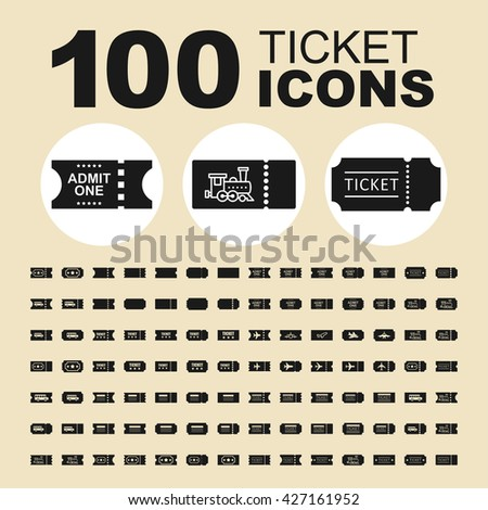 Variation of ticket vector icons. Coupon pictogram. Admit vector graphic. Design collection for web. - stock vector