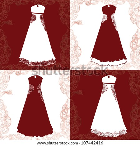 variations of elegant evening dress- suitable for wedding dress - stock vector