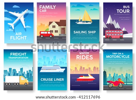 Variations transport of travel vacation tour guide infographic. Cruise, bus, flying on plane, car journey. Vector flyear, invitations, Magazines, cards, presentation, poster, banners set design.  - stock vector