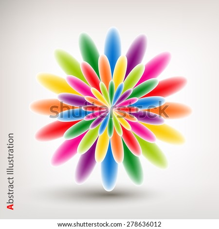 Varicolored abstract flower on grey background. Vector illustration. - stock vector