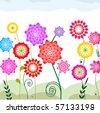Varicolored flowers - stock vector
