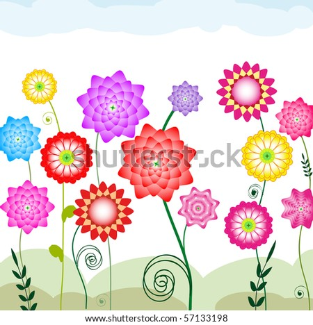 Varicolored flowers - stock vector
