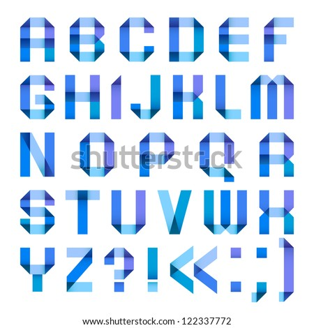 Varicolored letters from paper ribbon-blue. Roman alphabet (A, B, C, D, E, F, G, H, I, J, K, L, M, N, O, P, Q, R, S, T, U, V, W, X, Y, Z). - stock vector