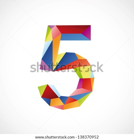 Varicolored number 5. Vector illustration - stock vector