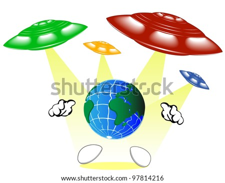 varicolored UFO spaceships and Earth - stock vector