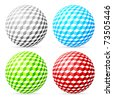 Variegated balls set on white background. - stock photo