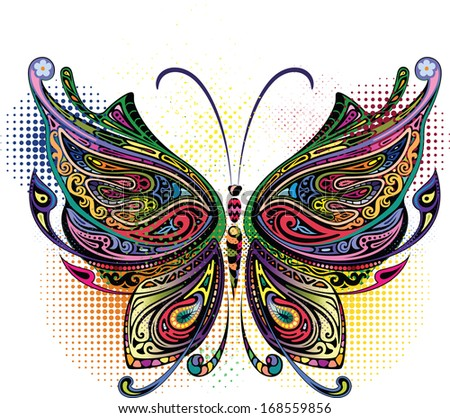 Variegated butterfly I - stock vector