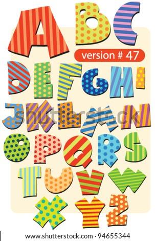 variegated circus alphabet - stock vector