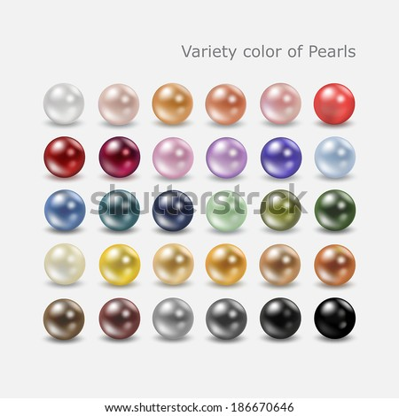 Variety color of  spherical pearls for your decoration