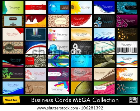 Variety of 42 detailed horizontal colorful abstract business cards collection on different topics. EPS 10. - stock vector