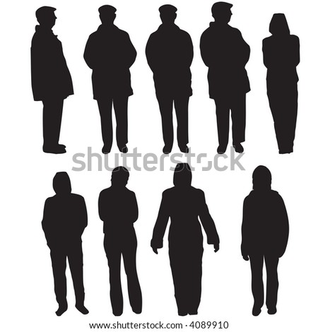 Variety of different people silhouettes