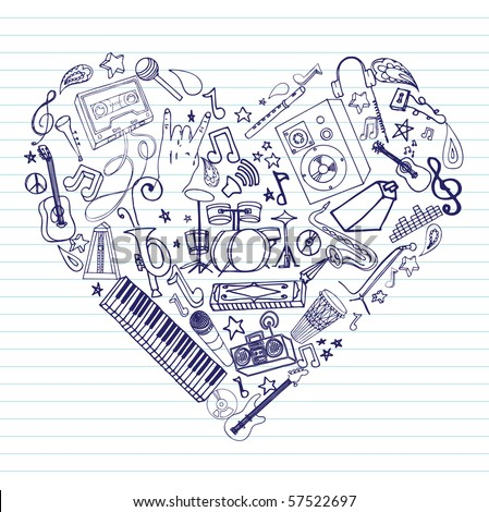 Variety of hand drawn music doodles in heart shape on lined paper. - stock vector