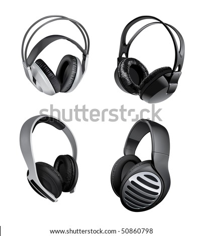 variety of headphones - stock vector