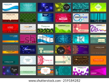 Variety of 42 horizontal business cards on different topics