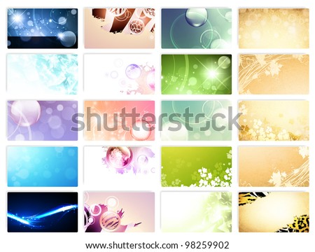 variety of 20 horizontal business cards templates (floral, abstract,vintage) over white - stock vector
