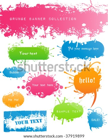 Variety of Modern Colored Grungy and Floral Banners - stock vector