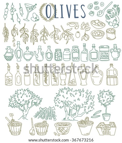 Variety of olives - fresh, stuffed, green, black, canned. Different shapes of olive oil bottles, trees, branches, leaves, market. Vector illustrations set isolated on white background - stock vector