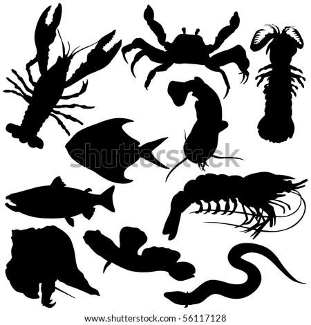 Variety of  Sea Food Silhouettes.