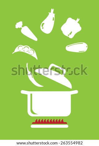 Variety of vegetables floating in the air and going into cooking pot above stove. Minimalist vector illustration isolated on green background. - stock vector