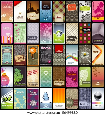 variety of 40 vertical business cards on different topics - stock vector