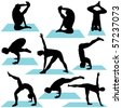 Variety of Yoga Poses Silhouettes. These illustrations are in layer and are easy to edit color. Great for website or design projects. - stock photo