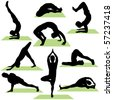 Variety of Yoga Poses Silhouettes. These illustrations are in layer and are easy to edit color. Great for website or design projects. - stock vector