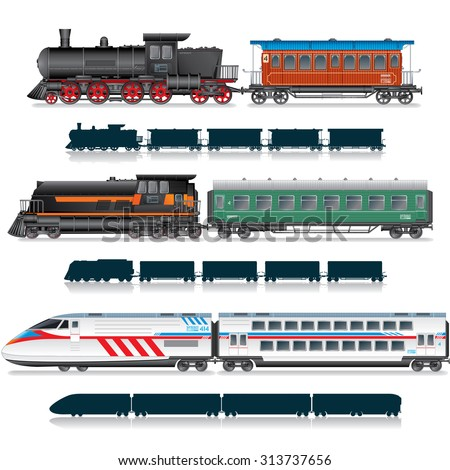 Variety Vintage and Modern Passenger Train. Vector Collection
