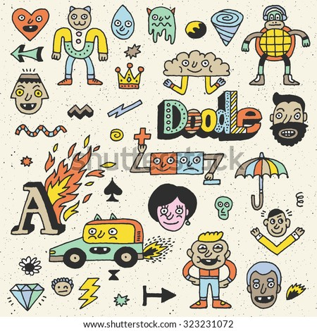 Various Abstract Funny Characters. Wacky Doodle Color Set 2. Vector Hand Drawn Illustration. - stock vector