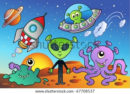Various alien and space cartoons - vector illustration. - stock vector