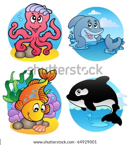 Various aquatic animals and fishes - vector illustration. - stock vector