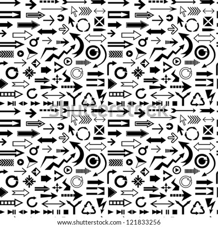 Various arrows seamless pattern - stock vector