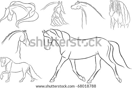 Various Artistic Horses Vector - stock vector