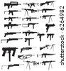Various assault rifles and guns - stock vector
