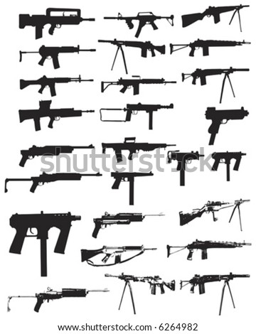 Various assault rifles and guns - stock vector