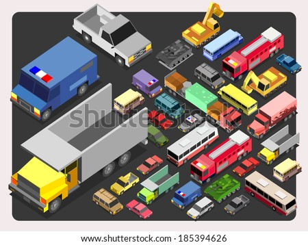 Various Automobiles, Trucks, Buses.vehicle Isometric Vector Illustration - stock vector